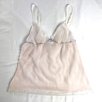 Simply Vera Wang Camisole Lingerie Sheer Layered Strappy Pink White Size Medium