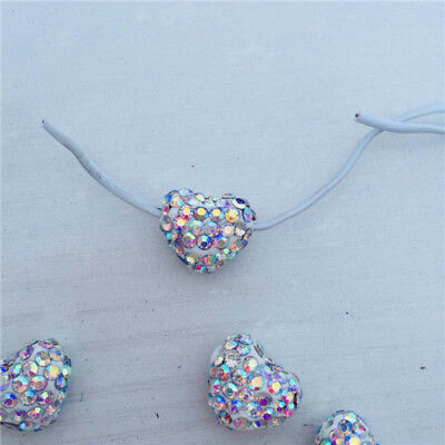 12*15mm AB Color Across Hole Heart Shape Polymer Clay Rhinestone Shamballa Beads