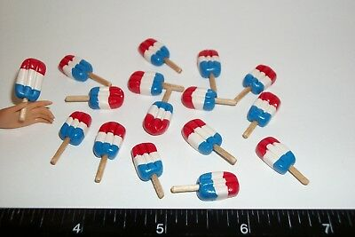 4 Dollhouse Miniature Red White & Blue Popsicles Ice Cream Barbie Doll Food 567