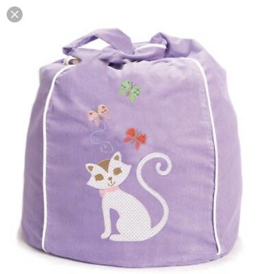 Kids Bean Bag cover by Cocoon Couture Purple Kitty Cat