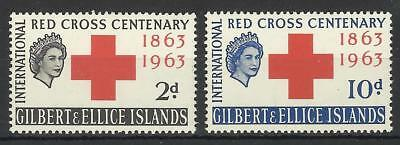 Gilbert And Ellice Islands Qe11 1963 Red Cross Pair Mint