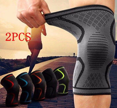 2 Copper Knee Support Brace Sleeve for Elastic Compression Pain Relief Gym Sport