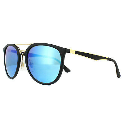 c2f7705255 RAY BAN RB4285 601S55 55mm Matte Black Blue Mirror Round Sunglasses ...