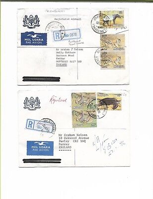 Malaysia 1985/6 2 Regd Air Covers Jalan Gurney To Gb - Diff Regn Labels & Values