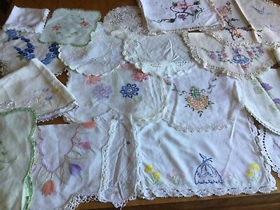 lot hand embroidered doilies for craft use