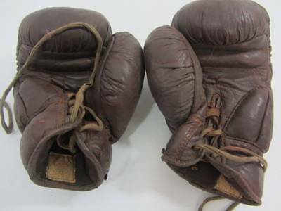 Vintage brown leather boxing gloves Frank Bryan 20's 30's display prop