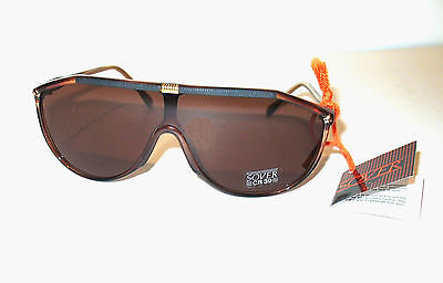 Sover Real Vintage Black & Brown Sunglasses Musk Occhiali da sole Italy MINT