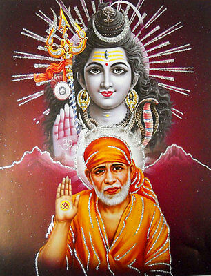 Blessing Sai Baba And Lord Shiva Hindu God Poster With Glitter 9 X