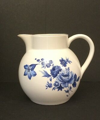Crown Staffordshire Bone China Blue and White Floral Jug. Gold Trim