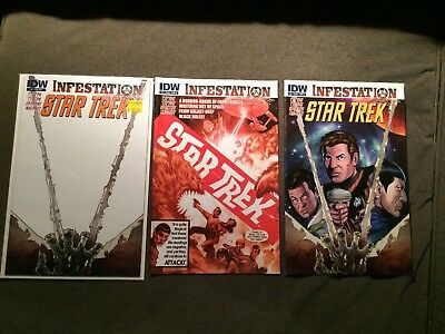 Lot of 3 IDW Star Trek Infestation comics issue 1, iss 2 cover A, iss 2 cover B