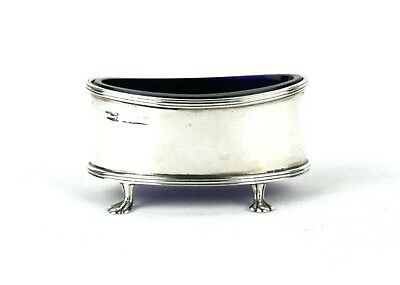 Early 20th C. Sterling Silver Salt Cellar Oval 4 Footed Walker & Hall