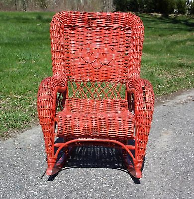 Vintage Heywood style Child's Wicker Rocking Chair Red Rocker