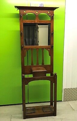 Art Deco Oak carved hall stand with mirror