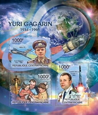 YURI GAGARIN Space (Vostok 1/MiG-15 Aircraft/Moscow Monument) Stamp Sheet (2011)