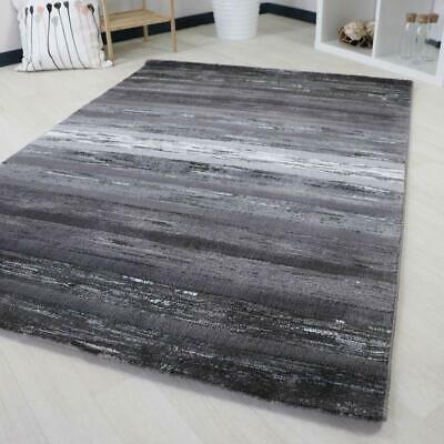Small Large Striped Rug Classic Grey White New Carpet Modern Soft Short Pile Mat