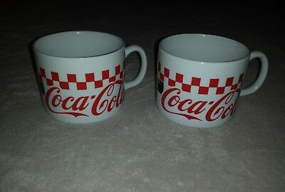 Lot of 2 Coca Cola Red, Black, & White Checkered Soup Mugs