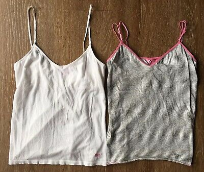 PINK Victoria's Secret LOT 2 V Neck Camis White And Striped M Medium