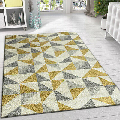 Modern Contemporary Rugs Cream Grey and Yellow Pattern New Carpet Soft Pile Mats