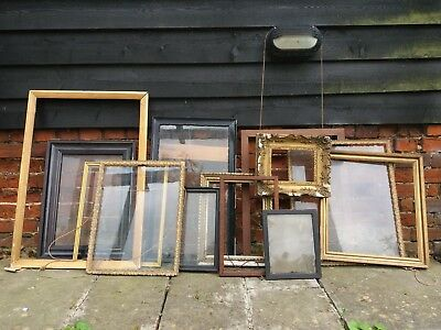 Collection/job lot of Vintage picture frames. Artist. Antique. Shabby chic.