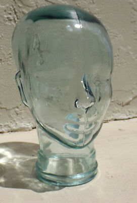 NWT CLEAR Green Tint GLASS MANNEQUIN HEAD WIG Headphone Sunglass DISPLAY HAT 11""