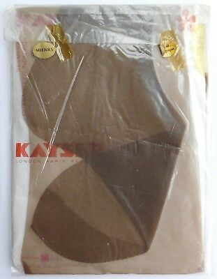 "Vintage Kayser seamfree stockings Size 10"" medium BRI-Nylon 1960s Sherry"