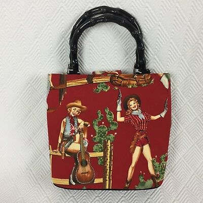 Pinup Cowgirls Country Western Handbag Purse Tote Bag Red Wooden Handles New