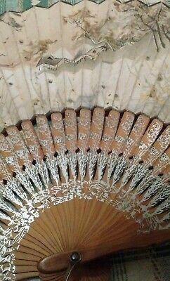Antique hand painted paper and wood fan