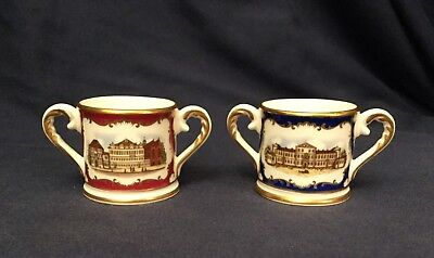 Royal Doulton Bone China 'Royal Birthplaces' Miniature Loving Cups George l & ll