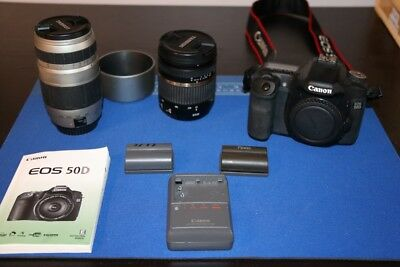 Canon 50D DSLR with 2 lenes, 3batteries/charger and manual