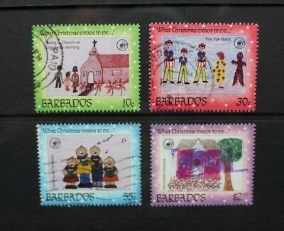 BARBADOS 1996 Christmas Children's Paintings. Set of 4. Fine USED. SG1097/1100.