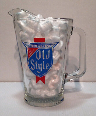 Vintage HEILEMAN'S Pure Genuine Old Style Heavy Glass Beer Pitcher