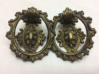 2 Vintage Ornate Drawer Pulls By KBC  Cast Metal DIY Project Hardware
