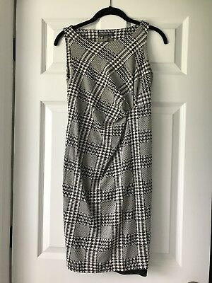 A PEA IN THE POD Maternity Black White Sleeveless Plaid Dress Polyester Small S