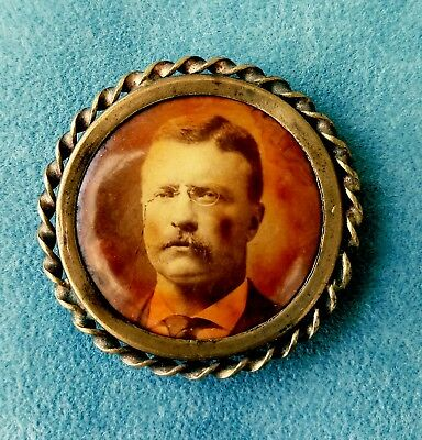 Teddy Roosevelt Campaign Button Antique 1 7/16 Inch
