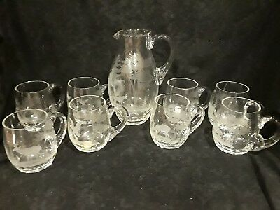 German Crystal - Hand Blown / Etched - Pitcher + 8 Mugs - Wildlife Etched
