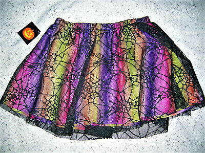 ❤Nwt❤Halloween❤Multi-Colored Tutu Skirt❤Overlayed In Black Spider Webs❤Girl24M❤
