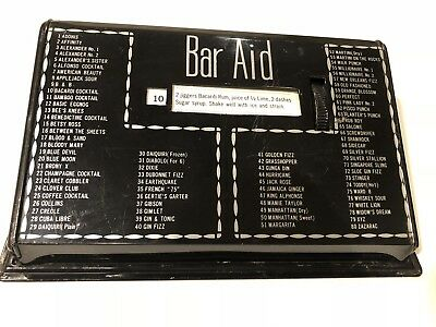 Vintage Black BAR AID COCKTAIL DRINK RECIPE GUIDE Tin Metal Box Retro; Works!