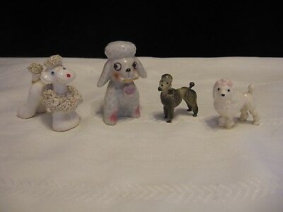 Lot of 4 Vintage Ceramic porcelain Miniature Mini Poodle Figurines  (E81)