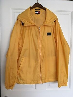 Tommy Hilfiger yellow Men's waterproof jacket-size XL-Vintage-includes Hanger-TH