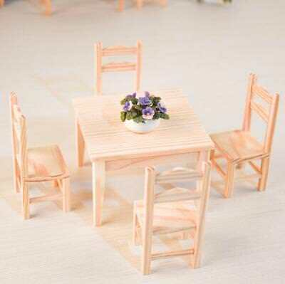 1:12 Dollhouse Miniature Kitchen Furniture 5Pcs Set 1 Wooden Table + 4 Chairs