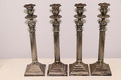 "Antique Rare Lot Of 4 English Victorian Sheffield ? Candle Holders 16.5"" Tall"