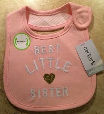 Best Little Sister CARTERS Teething Bib Girl Pink Gold Heart Baby NWT