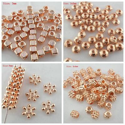 Mixed Size Alloy Rose Gold Charm Loose Spacer Beads DIY Jewelry Findings
