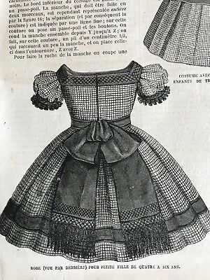 Year 1863 - MODE ILLUSTREE SEWING PATTERN April 13,1863 - CHILD DRESSES