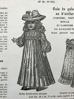 DIGITAL version - French MODE ILLUSTREE SEWING PATTERN Nov 16,1902 DOLL OUTFITS