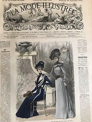 French MODE ILLUSTREE SEWING PATTERN September 23,1900 EVENING COAT