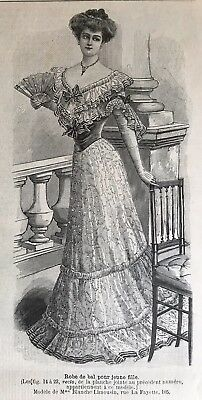 French MODE ILLUSTREE SEWING PATTERN Nov 15 & 22,1903 BALL GOWN