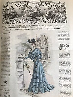 French MODE ILLUSTREE SEWING PATTERN Feb 5,1905 ROBE A DAMIERS