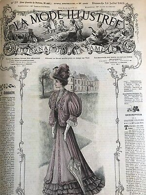 French MODE ILLUSTREE SEWING PATTERN (tracings) July 16,1905 MOURNING DRESS& BLO