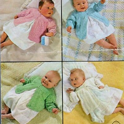 Baby Knitting Pattern copy Vintage MATINEE COATS  4 different designs 3 ply